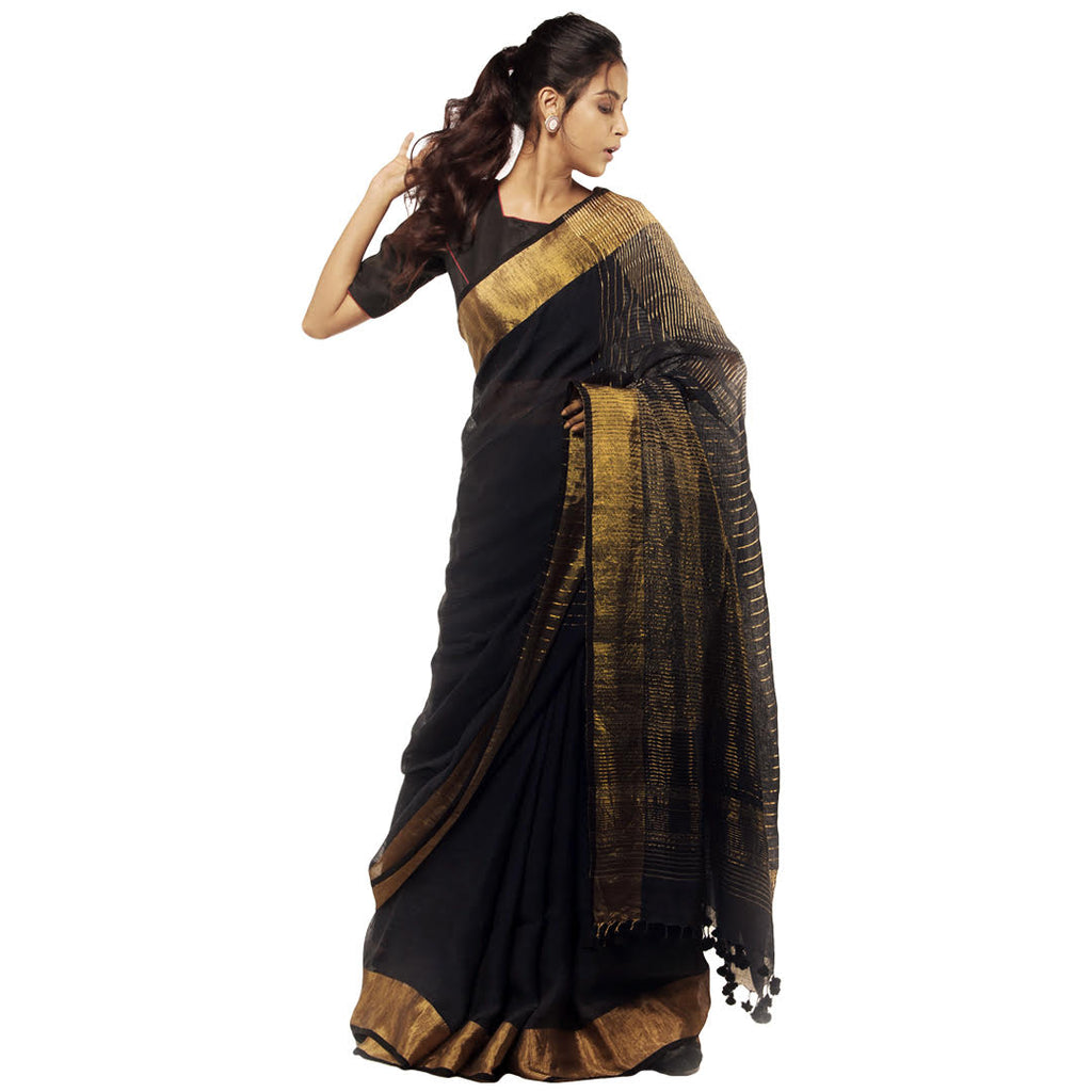 Natural Dyed Linen Sari: Cut Shuttle Circle Zari: Indigo Black