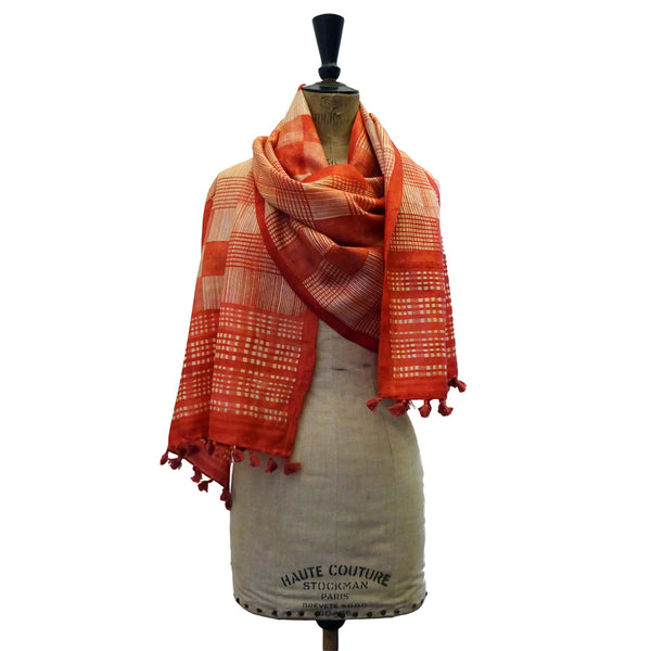 Hand Printed Tussah Silk Stole: Grids: Red