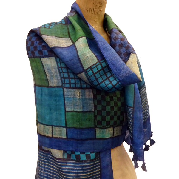 Hand Printed Tussah Silk Stole: Grids: Blues
