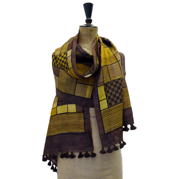 Hand Printed Tussah Silk Stole: Grids: Ochres