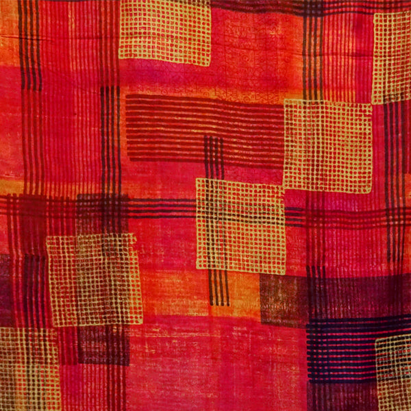 Hand Printed Tussah Silk Stole: Grids: Reds
