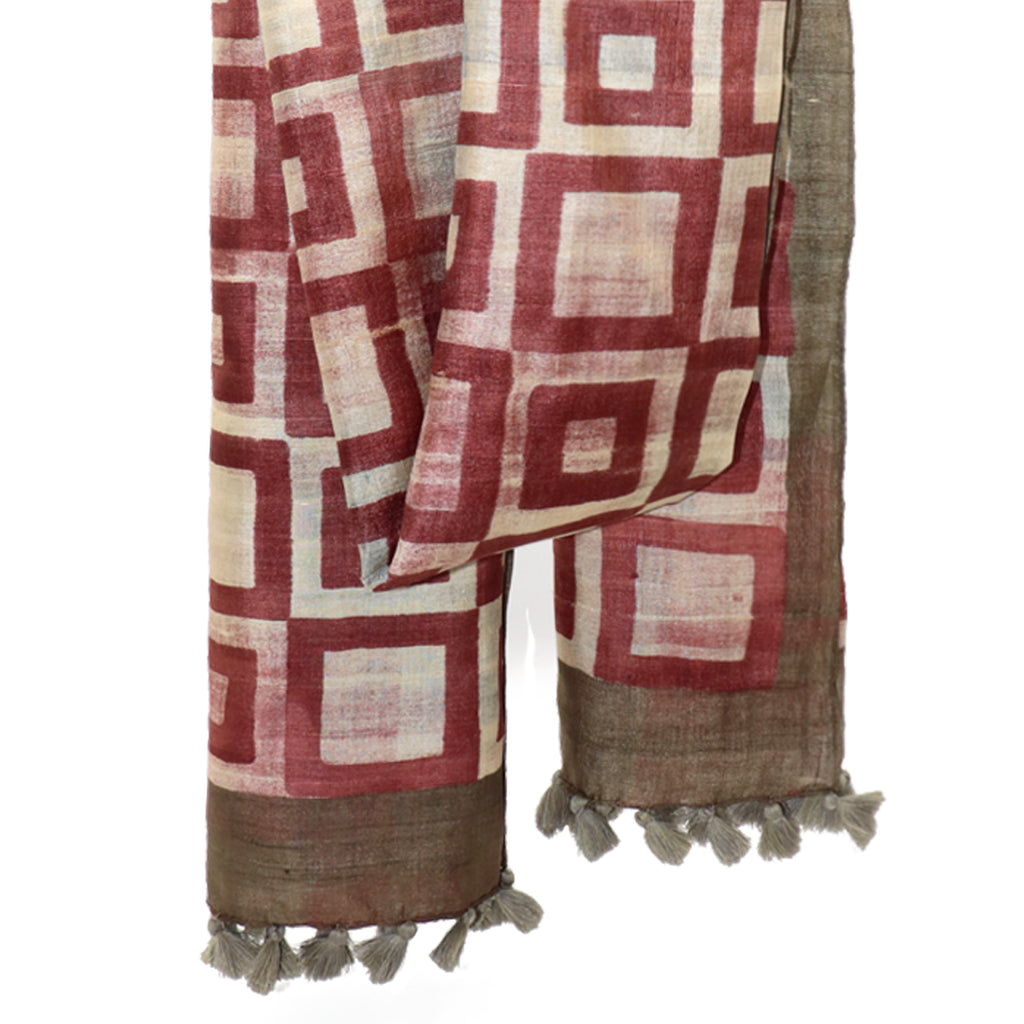 Modernist Squares: Hand Printed Tussah Silk Stole: Maroon and Ecru