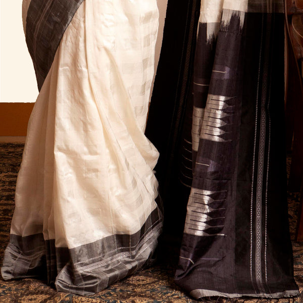 Shanta Ilkal Cotton-Silk Sari: Checkered White with Grey Border