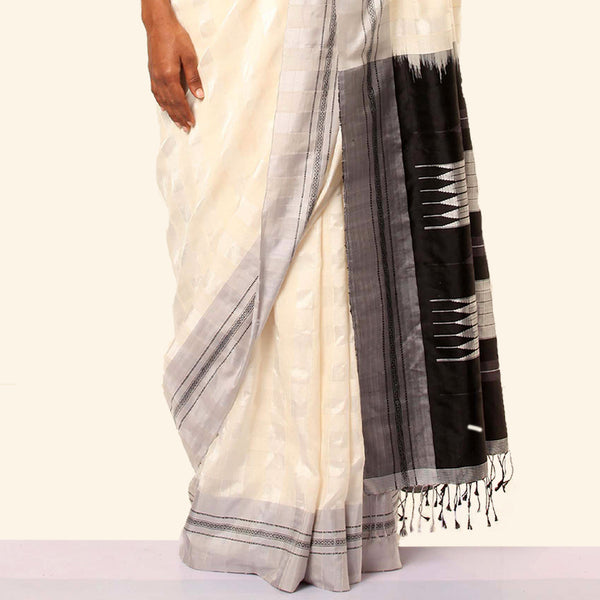 Shanta Ilkal Cotton-Silk Sari: Checkered White with Light Grey Border