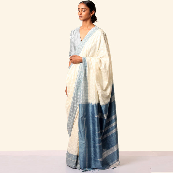Shanta Ilkal Cotton-Silk Sari: Checkered White with Indigo Border