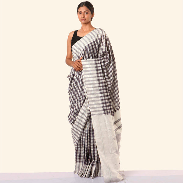 Shanta Ilkal Cotton-Silk Sari: Checkered Black and White