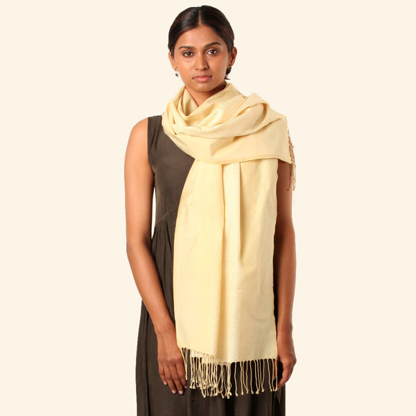 Siddeshwara Mukuta Khun Cotton-Silk Stole: Pale Yellow