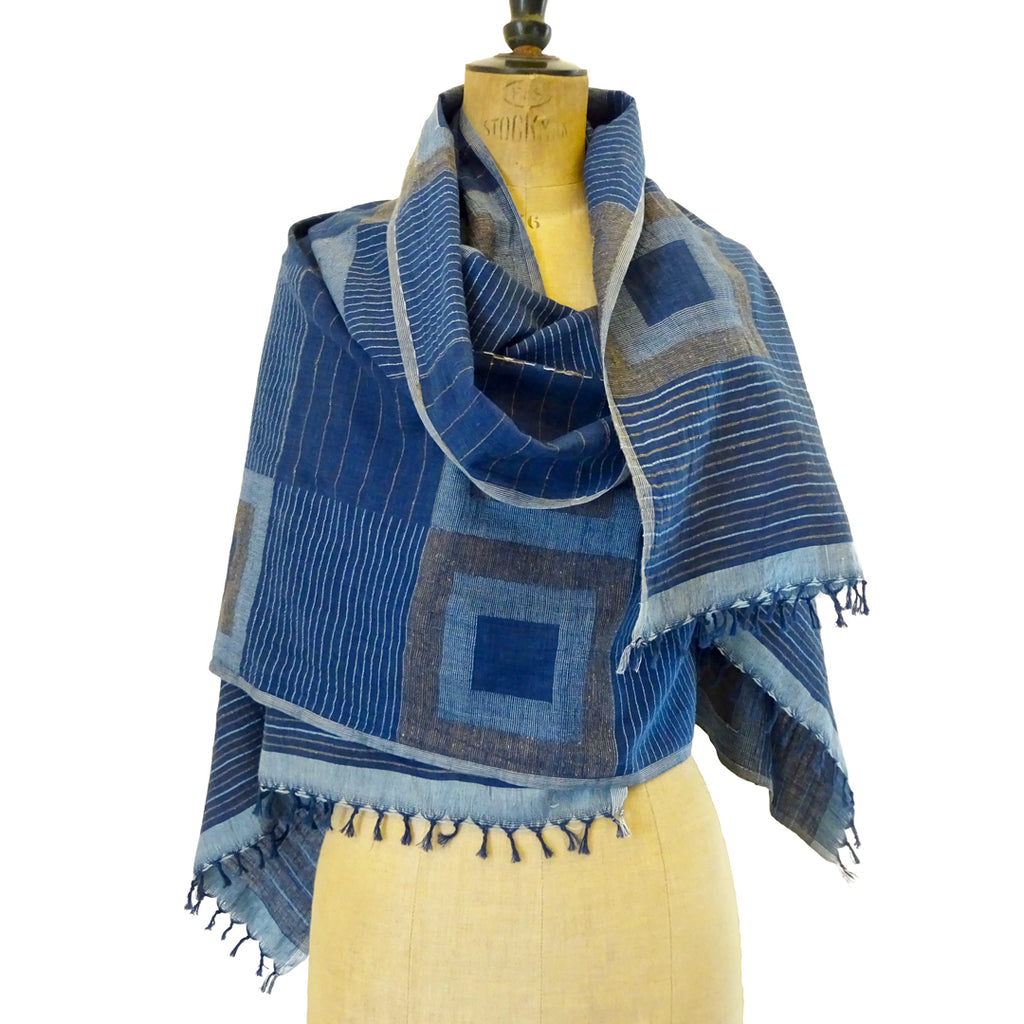Natural Indigo Khadi Jamdani Stole: Double Square