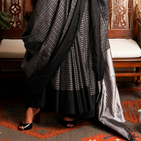 Lakshmi Khun Cotton-Silk Sari: Dark Grey, Black Border