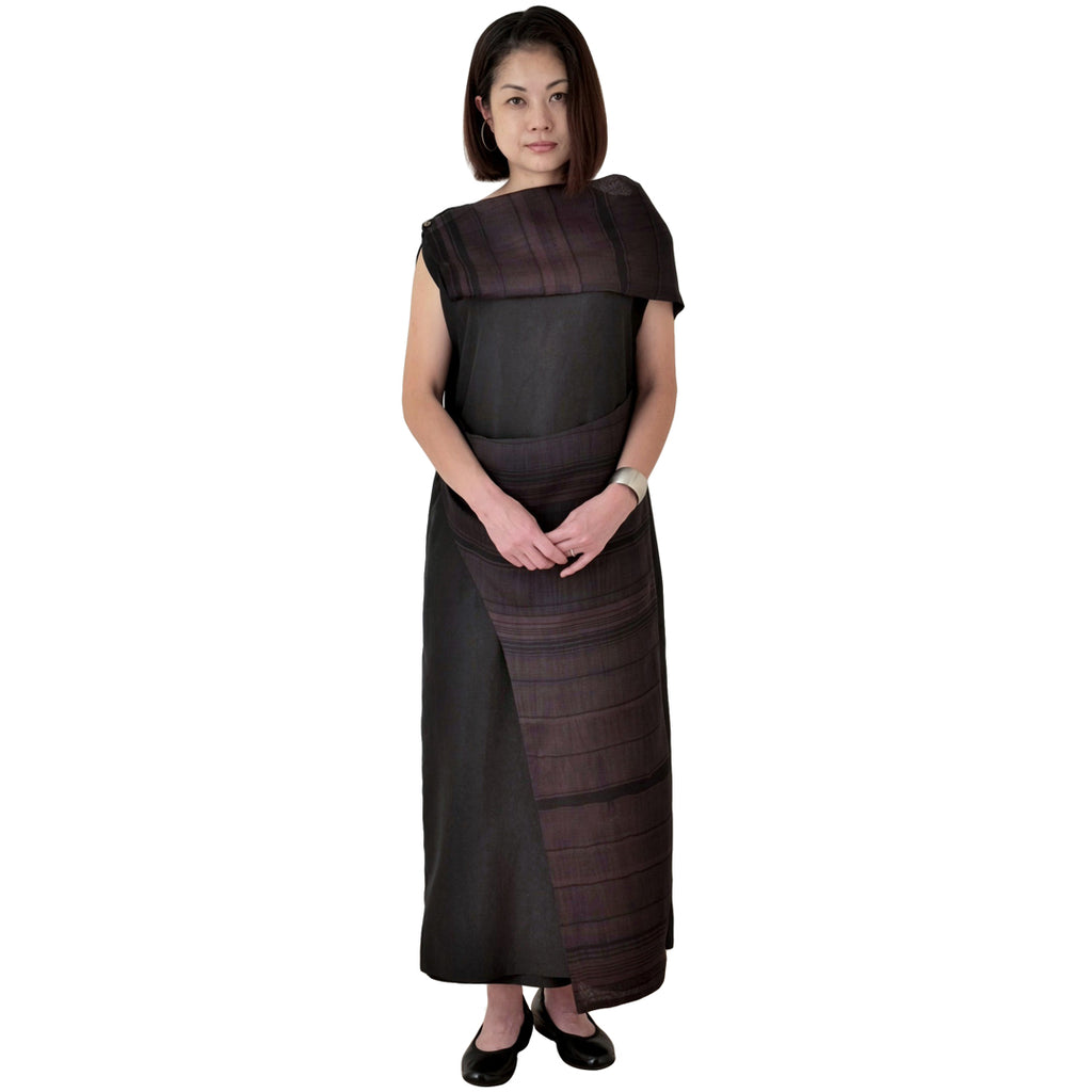 Elegant Long Black Silk Taffeta Dress