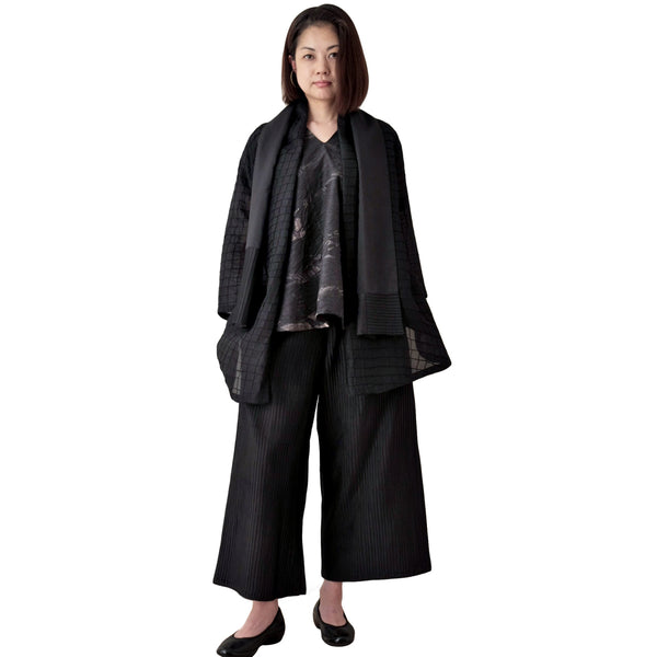 Relaxed Fit Pintuck Silk Trousers with Stole