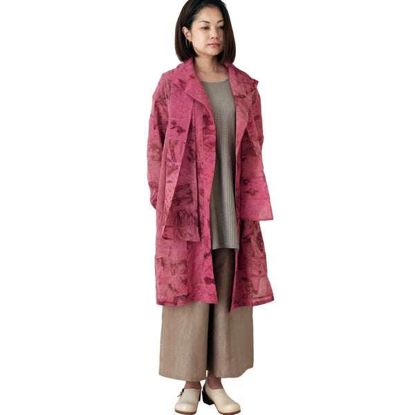 Pink Silk Georgette Patchwork Coat with Stole