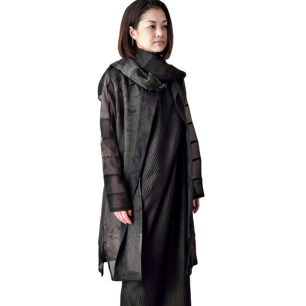 Black Silk Georgette Patchwork Coat with Stole