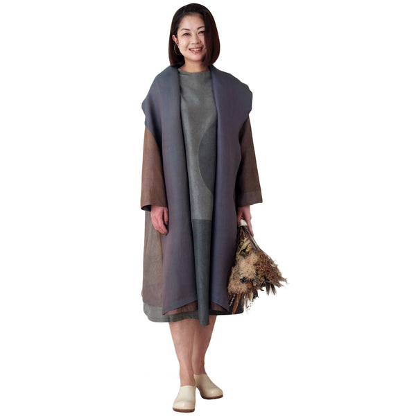Gray Reversible Silk Coat