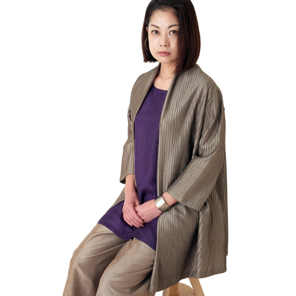 Taffeta Silk Pin-tuck Long Jacket
