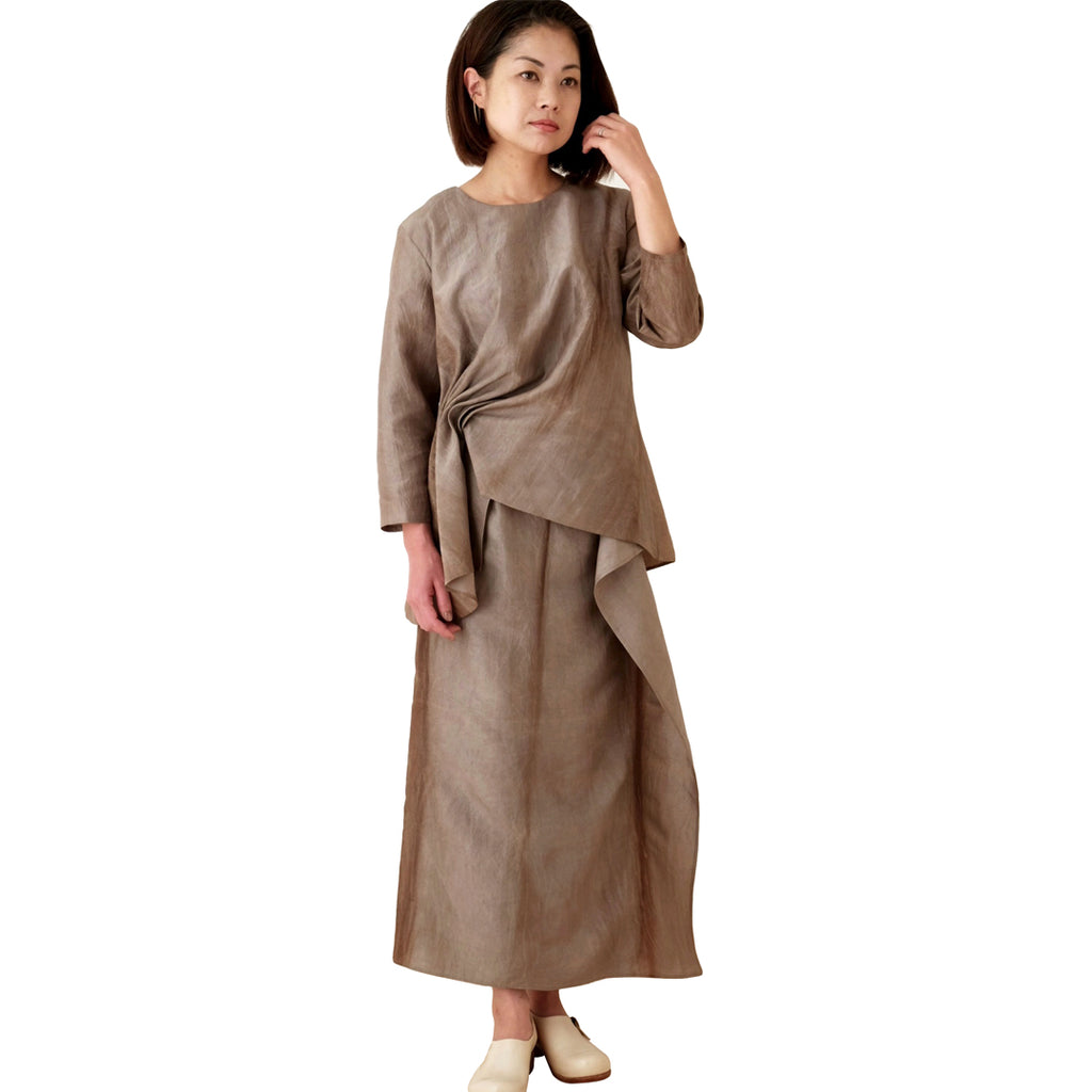 Kaki-shibu Dyed Gray Top and Skirt Set