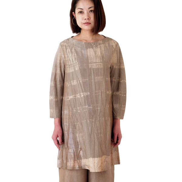 Relaxed Fit Kaki-shibu Dyed Gray Tunic