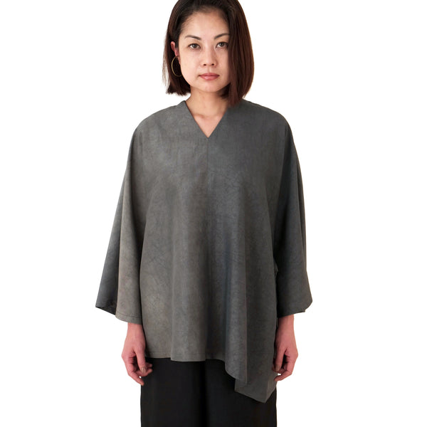 Relaxed Fit Kaki-shibu Dyed Gray Top