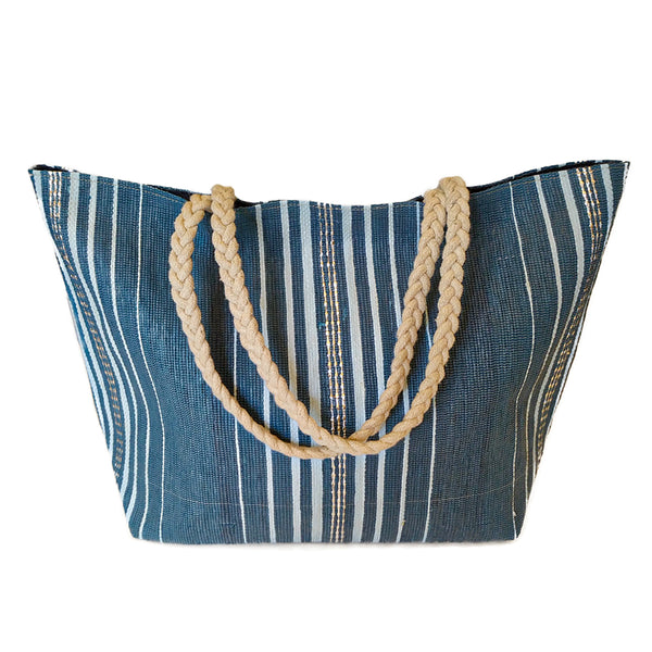Upcycled Plastic Vegetable Bag: Blue and Silver striped