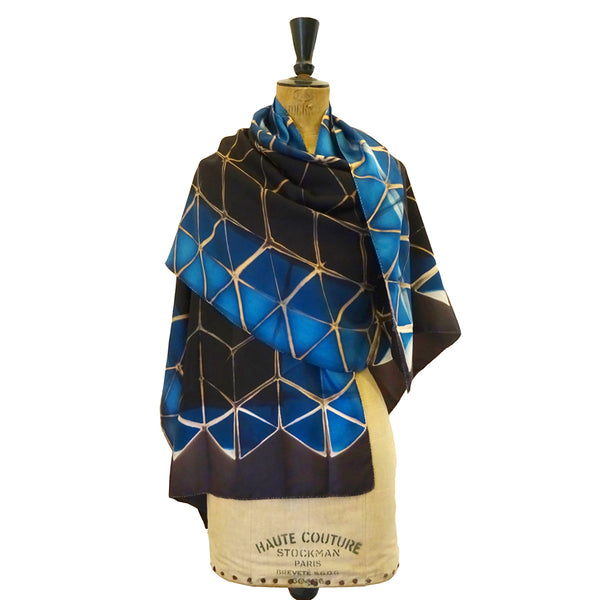 Blue Diamond Clamp-Resist Twill Silk Stole