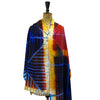 Abstract Clamp-Resist Twill Silk Stole: Red and Blue