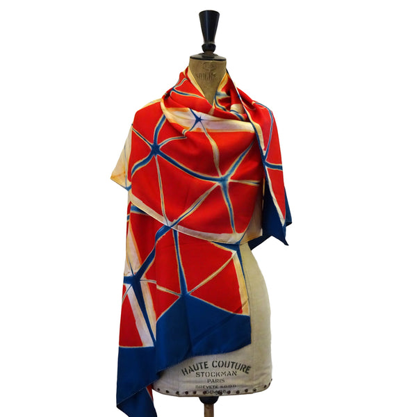 Red Blue and White Clamp-Resist Twill Silk Stole