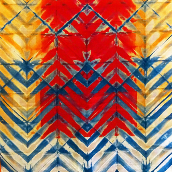 Red and Blue Chevron Clamp-Resist Twill Silk Stole