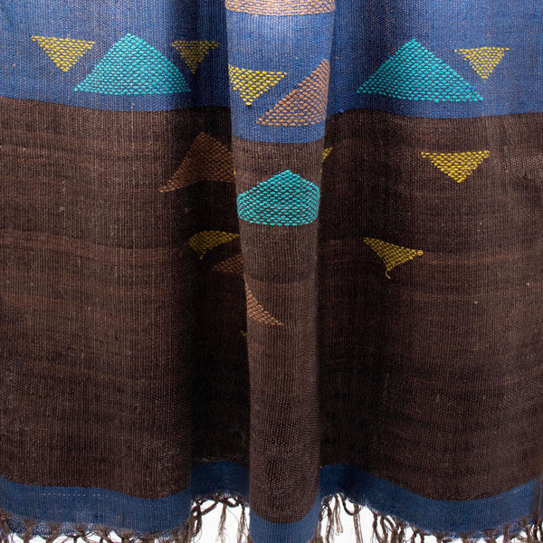 Scale Jamdani Silk Stole Blue and Brown