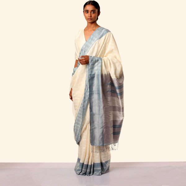 Shanta Ilkal Cotton-Silk Sari: Checkered White, Indigo Border, Grey Pallu