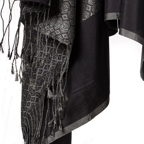 Siddeshwara Khun Cotton-Silk Stole: Black and Grey