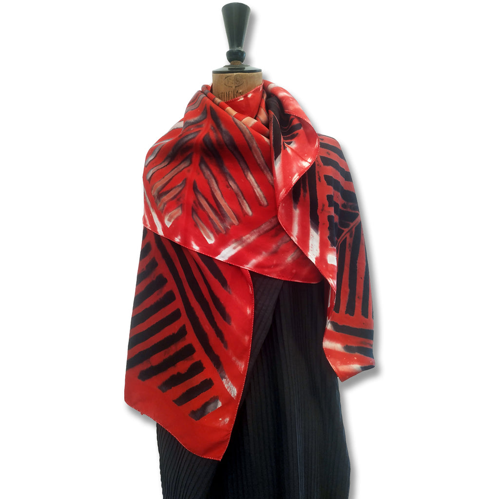 Striped Clamp-Resist Shibori Twill Silk Stole: Red and Black