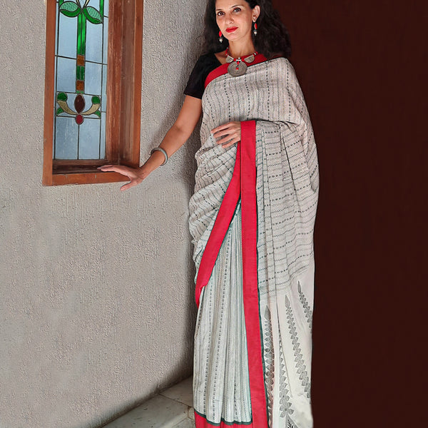 Upcycled Bengali Handloom Cotton Sari: Black and White