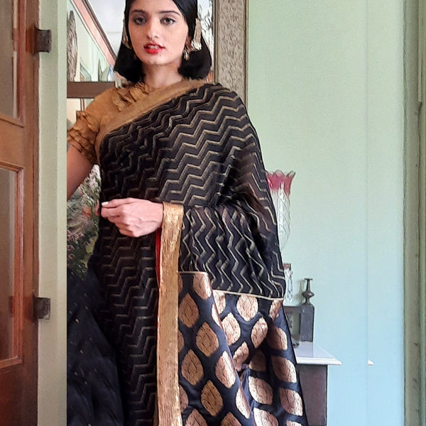 Upcycled Brocade Georgette Sari: Black and Gold