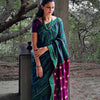 Upcycled Brocades Printed Bihar Silk Sari: Green and Purple
