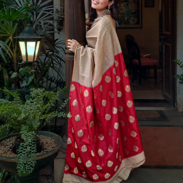 Upcycled Brocades Silk Sari: Natural Tussah and Red