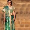 Khari' Printed Cotton-Silk Sari: Aquamarine and Gold