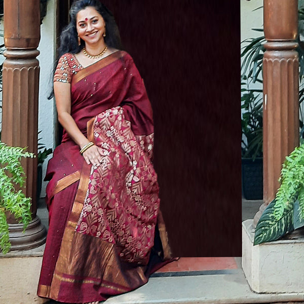 Upcycled Cotton Mangalgiri Sari: Maroon and Gold
