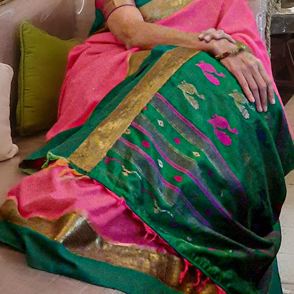 Upcycled Cotton Sari: Pink and Green