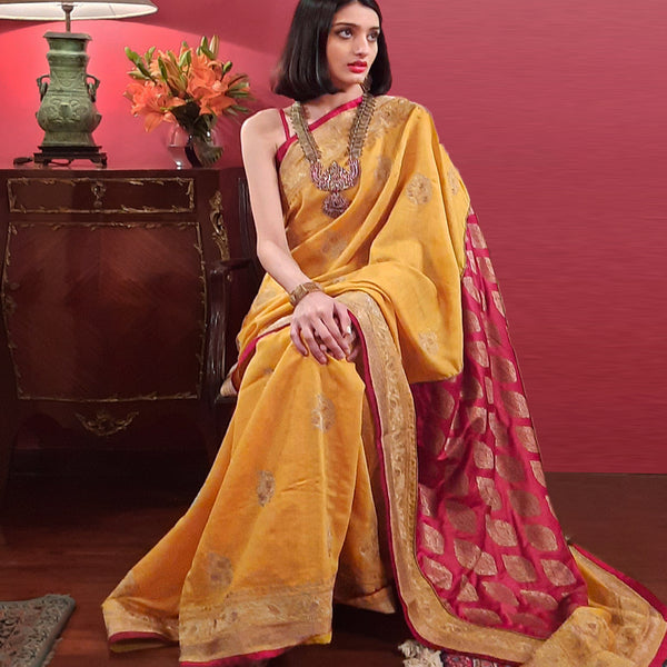 Upcycled Embroidered Silk Sari: Yellow and Red