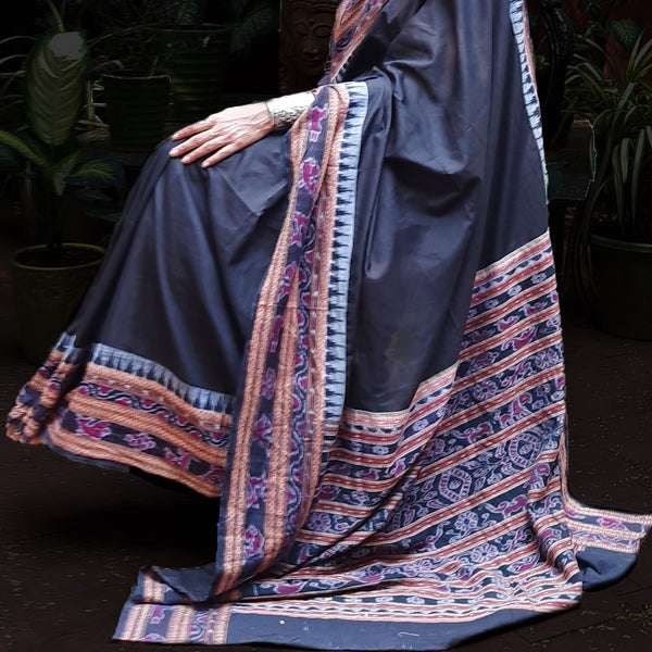Upcycled Ikat Cotton Mull Sari: Black
