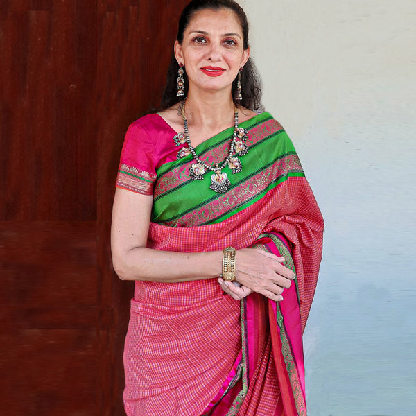 Upcycled Kanjivaram Sari: Pink and Green