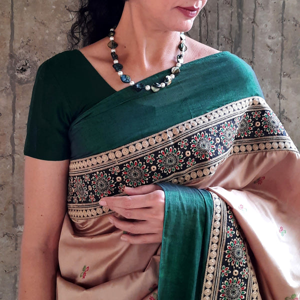 Upcycled Kanjivaram Silk Sari: Green and Cream