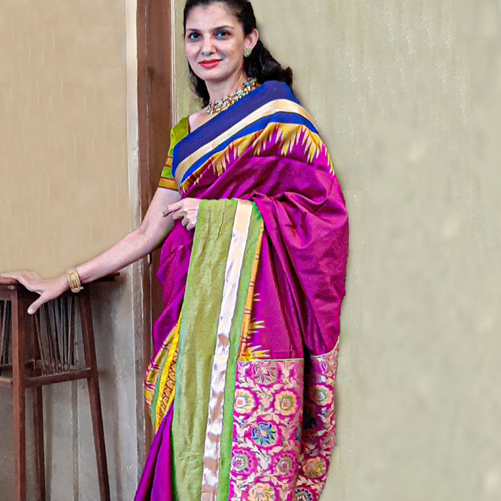 Upcycled Kanjivaram Silk Sari: Multicolour