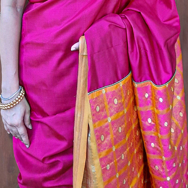 Upcycled Kanjivaram Silk Sari: Pink and Orange