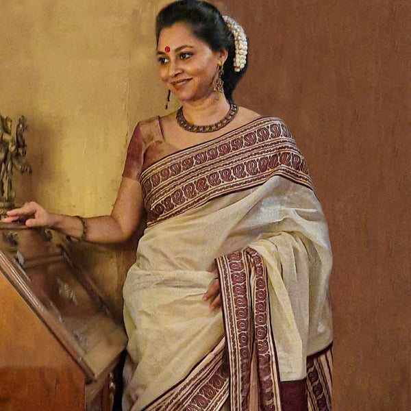 Upcycled Kanjivarram-Chanderi Sari Cream and Brown
