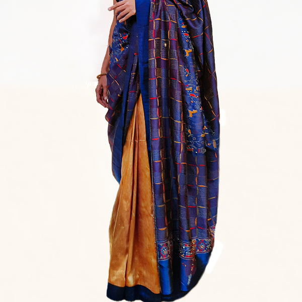 Upcycled Kantha Silk Sari: Royal Blue and Yellow