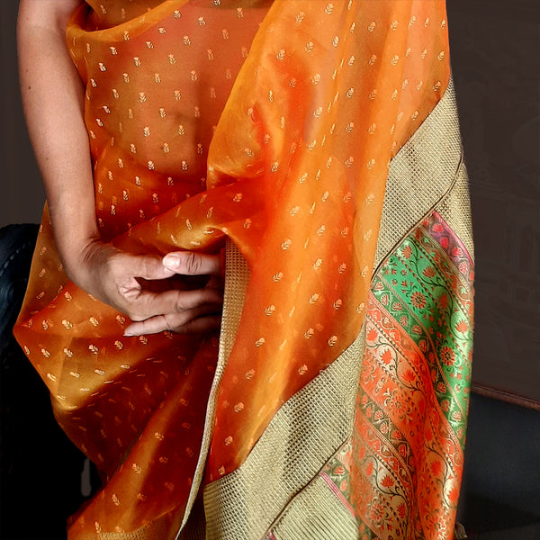 Upcycled Organza Silk Sari: Orange