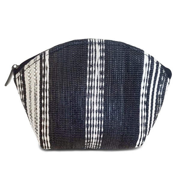 Upcycled Plastic Cosmetic Pouch : Black, White & Silver striped