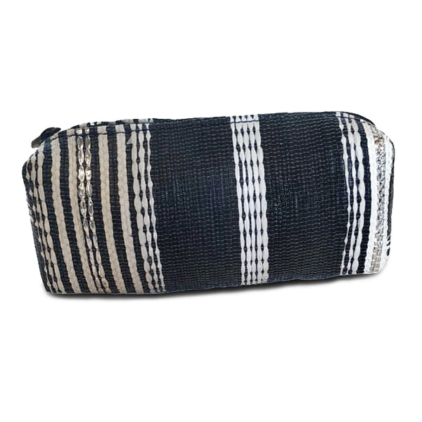 Upcycled Plastic Pencil Pouch: Black, White & Silver striped