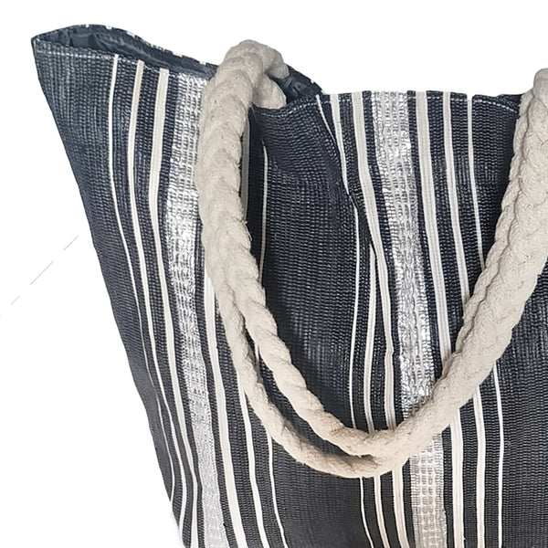 Upcycled Plastic Vegetable Bag: Black, white & silver stripes